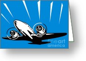 Transit Greeting Cards - Propeller Airplane Retro Greeting Card by Aloysius Patrimonio