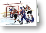 Stanley Greeting Cards - Propp Scores 1987 Stanley Cup Finals Game 6 Greeting Card by David E Wilkinson