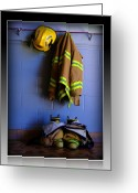 Fireman Boots Greeting Cards - Protect and Serve Greeting Card by Farol Tomson