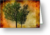 Brown Digital Art Greeting Cards - Protected Together Greeting Card by Cheryl Young