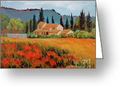 Landscape Posters Painting Greeting Cards - Provence Villa Greeting Card by Dawn Thrasher