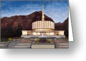 Jesus Painting Greeting Cards - Provo Temple Greeting Card by Jeff Brimley