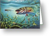 Fish Painting Greeting Cards - Provoked Musky Greeting Card by JQ Licensing