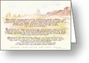 Earth Tones Greeting Cards - Psalm 23 Navajo Version  Greeting Card by Judy Dodds