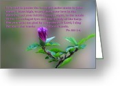 Leaves Jewelry Greeting Cards - Psalms Scripture with Floral Bud Greeting Card by Linda Phelps