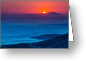 Parthenon Greeting Cards - Psara sunset  Greeting Card by Emmanuel Panagiotakis