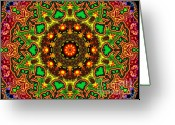 Lime Digital Art Greeting Cards - Psych Greeting Card by Robert Orinski 