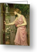 Entrance Door Greeting Cards - Psyche entering Cupids Garden Greeting Card by John William Waterhouse