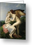 Psyche Greeting Cards - Psyche Receiving the First Kiss of Cupid Greeting Card by Gerard
