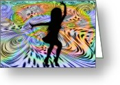 Motown Greeting Cards - Psychedelic Dancer Greeting Card by Bill Cannon