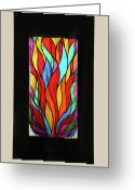 Textured Sculpture Greeting Cards - Psychedelic Flames Greeting Card by Rick Roth