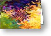 Gina Digital Art Greeting Cards - Psychedelic Flower - A Fractal Abstract Greeting Card by Gina Manley