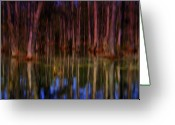 The Swamp Greeting Cards - Psychedelic Swamp Trees Greeting Card by Susanne Van Hulst