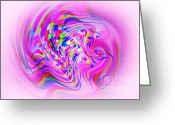 Violet Blue Greeting Cards - Psychedelic Swirls on Lollypop Pink Greeting Card by Kaye Menner