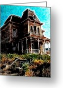 "\\\""haunted House\\\\\\\"" Drawings Greeting Cards - Psycho House Greeting Card by Paul Van Scott"
