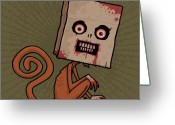 Monkey Greeting Cards - Psycho Sack Monkey Greeting Card by John Schwegel