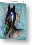 Wild Horse Drawings Greeting Cards - Psychodelic Blue And Green Greeting Card by Angel  Tarantella