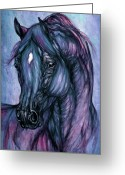 Wild Horse Drawings Greeting Cards - Psychodelic Deep Blue Greeting Card by Angel  Tarantella