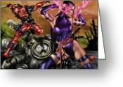 Psylocke Greeting Cards - Psylocke and Deadpool Greeting Card by Pete Tapang
