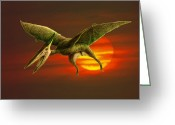 Pterodactyl Greeting Cards - Pterodactyl Greeting Card by Spencer Sutton and Photo Researchers