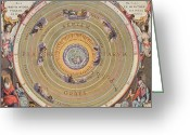 Ptolemaic Greeting Cards - Ptolemaic Universe, 1660 Greeting Card by Granger