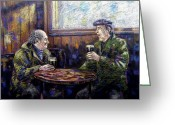 Blue Art Pastels Greeting Cards - Pub Parlance Greeting Card by John  Nolan