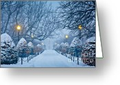 Boston Greeting Cards - Public Garden Walk Greeting Card by Susan Cole Kelly