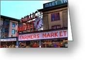 Seattle Greeting Cards - Public Market II Greeting Card by David Patterson