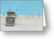 Water Swimming Pool Greeting Cards - Public Pool With Rusty And Worn Lifeguard Chair Greeting Card by Jaan Bernberg