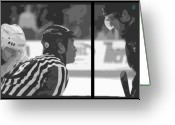 Hockey Mixed Media Greeting Cards - Puck Drop Greeting Card by Lucas Armstrong