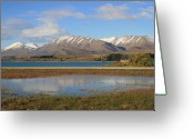 Lake Tekapo Greeting Cards - Puddle Reflections Greeting Card by Jan Lawnikanis