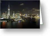 The Bund Greeting Cards - Pudong District At Night Greeting Card by Andrew Rowat