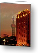 Night Scene Greeting Cards - Pudong Shanghai - First City of the 21st Century Greeting Card by Christine Till