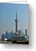 Iconic Architecture Greeting Cards - Pudong Shanghai Oriental Perl Tower Greeting Card by Christine Till