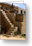 Street Scene Greeting Cards - Pueblo Stairway Greeting Card by Joe Kozlowski