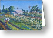 Cornfield Greeting Cards - Puentes Farm Greeting Card by Vanessa Hadady BFA MA