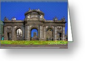 Entryway Greeting Cards - Puerta de Alcala In Your Dreams Greeting Card by Joan Carroll