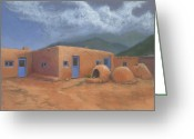 Taos Pueblo Greeting Cards - Puertas Azul Greeting Card by Jerry McElroy