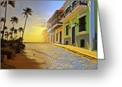Tropical Sunset Greeting Cards - Puerto Rico Collage 2 Greeting Card by Stephen Anderson