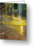 Tropical Sunset Greeting Cards - Puerto Rico Collage 3 Greeting Card by Stephen Anderson