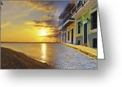 Colorful Buildings Greeting Cards - Puerto Rico Montage 1 Greeting Card by Stephen Anderson