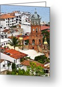 Rooftops Greeting Cards - Puerto Vallarta Greeting Card by Elena Elisseeva