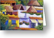 Mexican Pastels Greeting Cards - Puerto Vallarta Hillside Greeting Card by Candy Mayer