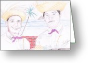 Pencil Drawing Greeting Cards - Puertorican Friends Greeting Card by Jose Valeriano