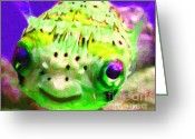 Marine Animals Greeting Cards - Pufferfish Greeting Card by Wingsdomain Art and Photography