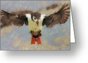 Seabirds Digital Art Greeting Cards - Puffin Greeting Card by Wade Aiken