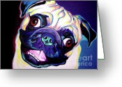 Dawgart Greeting Cards - Pug - Rider Greeting Card by Alicia VanNoy Call
