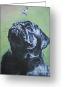 Portrait Greeting Cards - Pug black  Greeting Card by L A Shepard