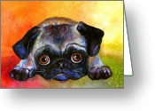 Pet Portrait Drawings Greeting Cards - Pug Dog portrait painting Greeting Card by Svetlana Novikova
