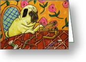 Needlepoint Greeting Cards - Pug Doing Needlepoint Greeting Card by Jay  Schmetz
